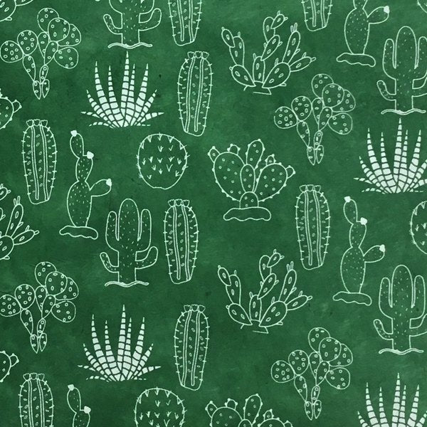 GIFTSLAND-WRAP-CACTUS WHITE ON GREEN