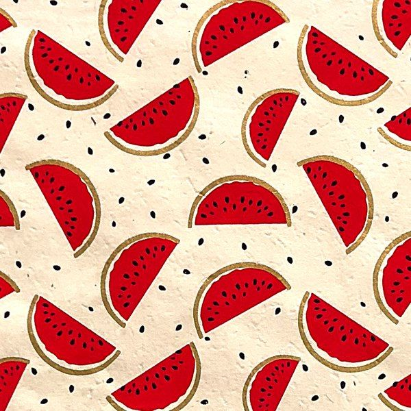 GIFTSLAND-WRAP-WATERMELON GOLD RED BLACK ON NATURAL