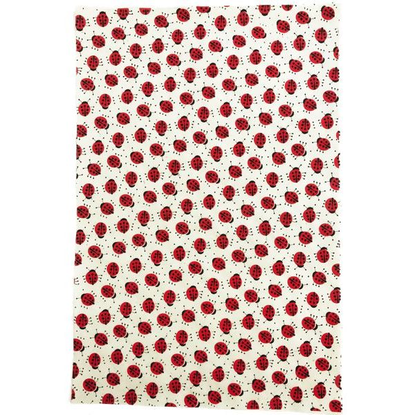 GIFTSLAND-WRAP-LADY BUG RED BLACK ON NATURAL