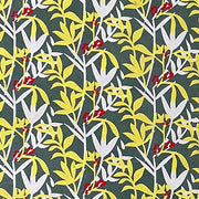 GIFTSLAND-WRAP-LEAVES & BERRIES WHITE YELLOW RED ON GREY
