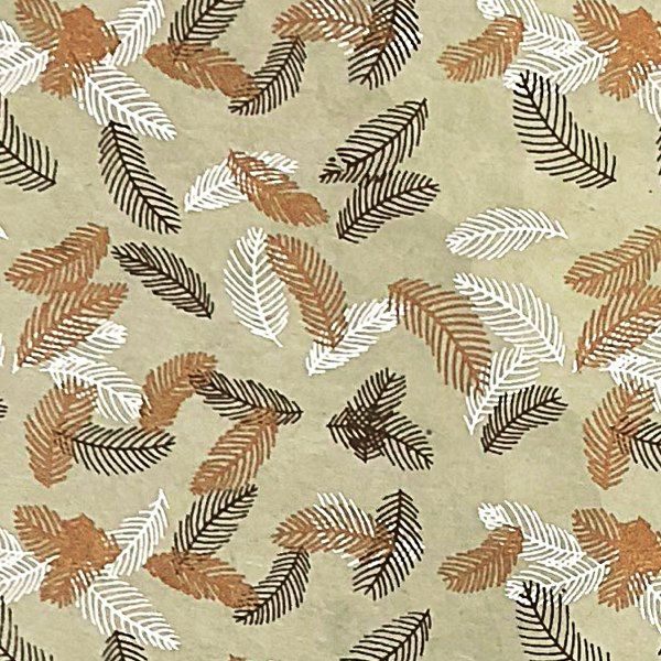 Giftsland-Wrap-Falling Feather White Copper Brown On L/Brown