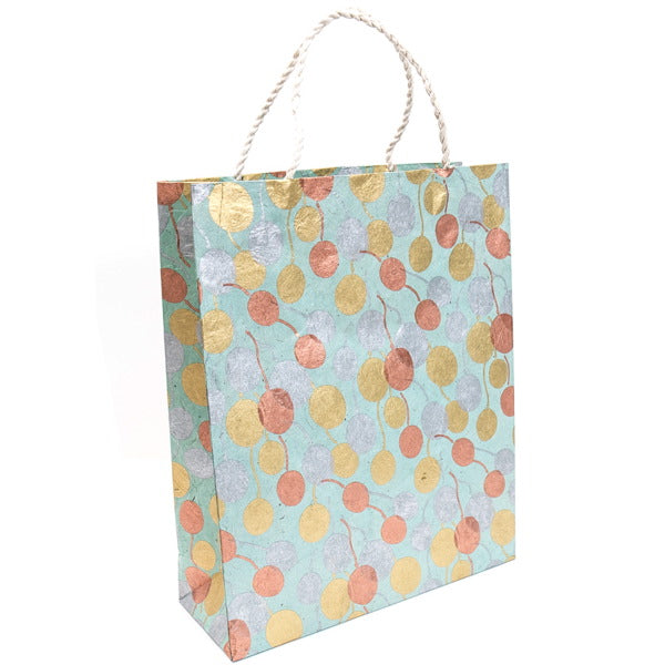 GIFTSLAND-GIFT BAG LARGE-BALLOONS GOLD COPPER SILVER ON POOL