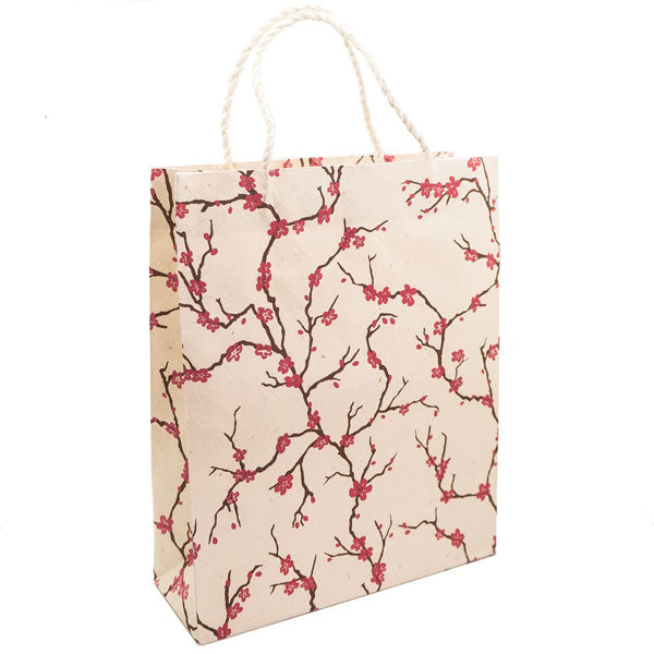 GIFTSLAND-GIFT BAG LARGE-PEACH MAGENTA/CHOCO ON NATURAL