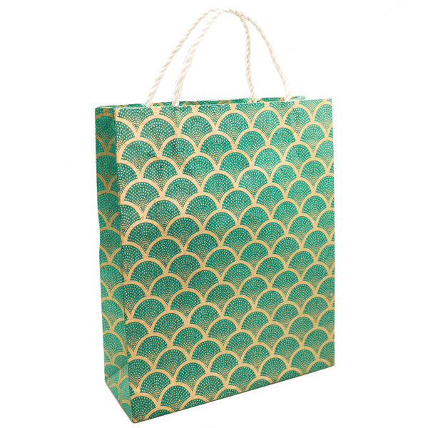 GIFTSLAND-GIFT BAG LARGE-FAN GOLD ON SEA GREEN