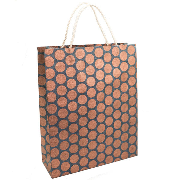 GIFTSLAND-GIFT BAG LARGE-POLKA DOT COPPER ON NAVY