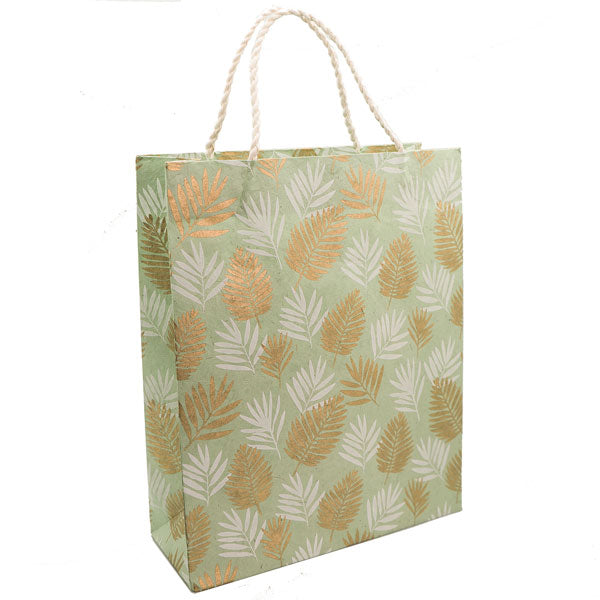 Giftsland-Gift Bag Large-Coconut Palm White Gold On Mint