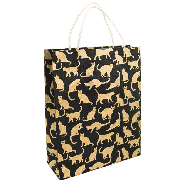 GIFTSLAND-GIFT BAG LARGE-CATS GOLD ON BLACK
