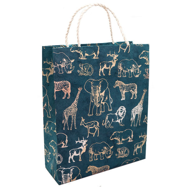 GIFTSLAND-GIFT BAG LARGE-SAFARI METALLIC ON WATERMELON GREEN