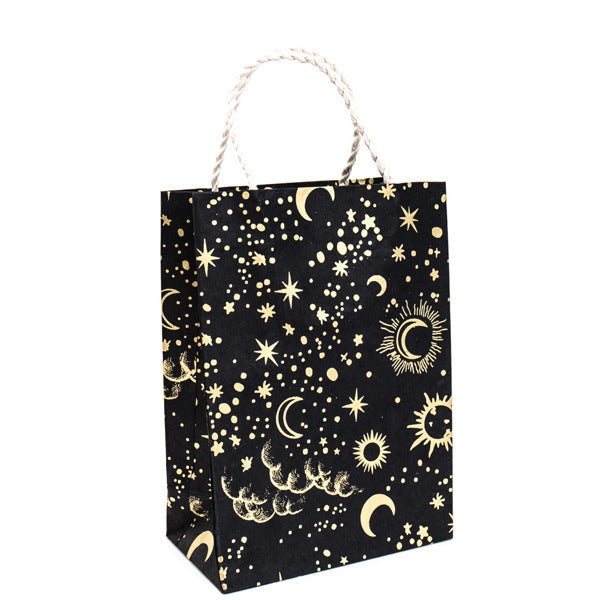 GIFTSLAND-GIFT BAG LARGE-SUN MOON STARS GOLD ON BLACK