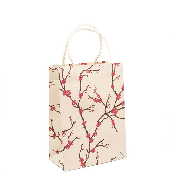 GIFTSLAND-GIFT BAG MEDIUM-PEACH MAGENTA/CHOCO ON NATURAL