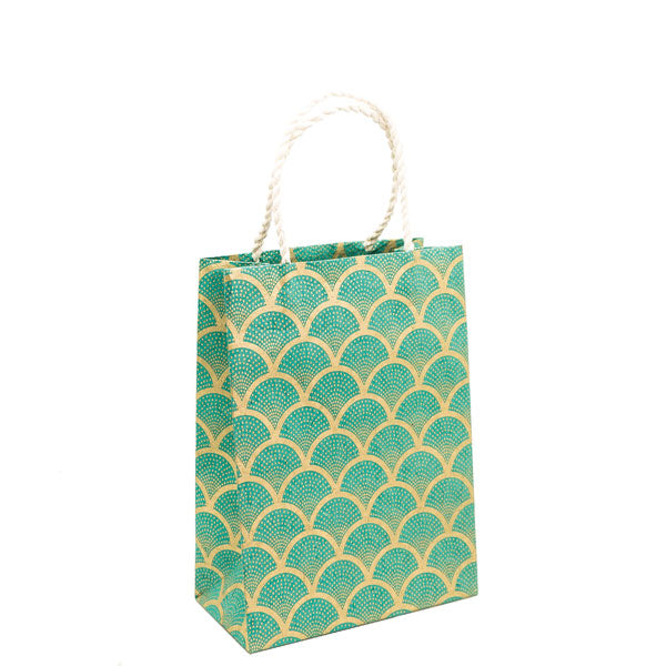 GIFTSLAND-GIFT BAG MEDIUM-FAN GOLD ON SEA GREEN