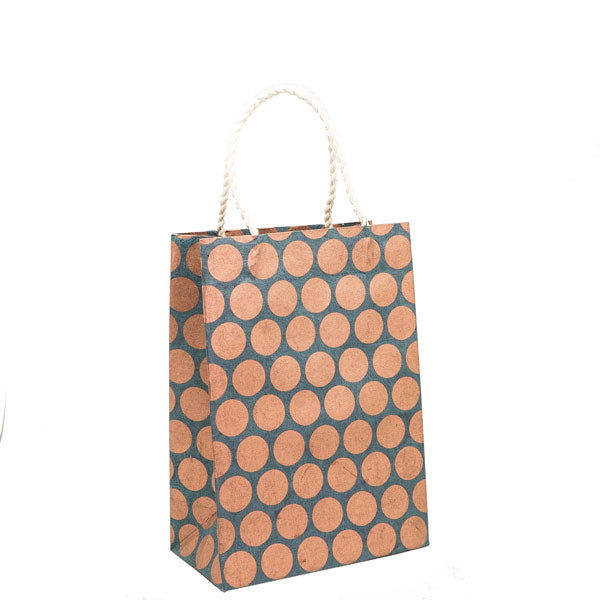 GIFTSLAND-GIFT BAG MEDIUM-POLKA DOT COPPER ON NAVY