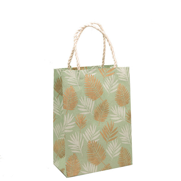 GIFTSLAND-GIFT BAG MEDIUM-COCONUT PALM WHITE GOLD ON MINT