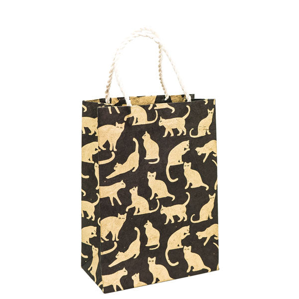 GIFTSLAND-GIFT BAG MEDIUM-CATS GOLD ON BLACK