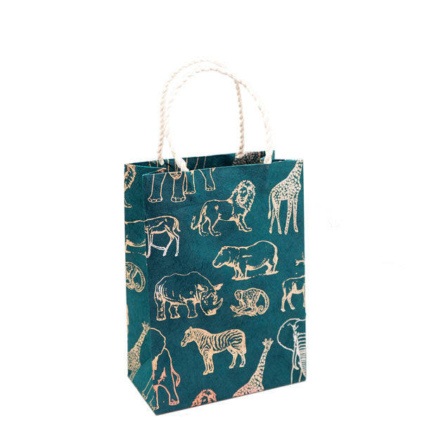 GIFTSLAND-GIFT BAG MEDIUM-SAFARI METALLIC ON WATERMELON GREEN