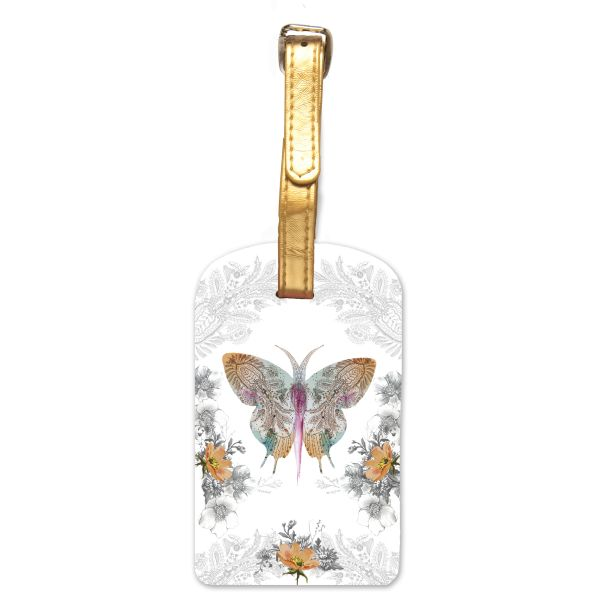 Papaya-Luggage Tag-Paisley Butterfly