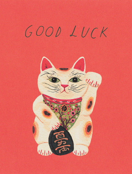 RED CAP-CARD-GOOD LUCK KITTY