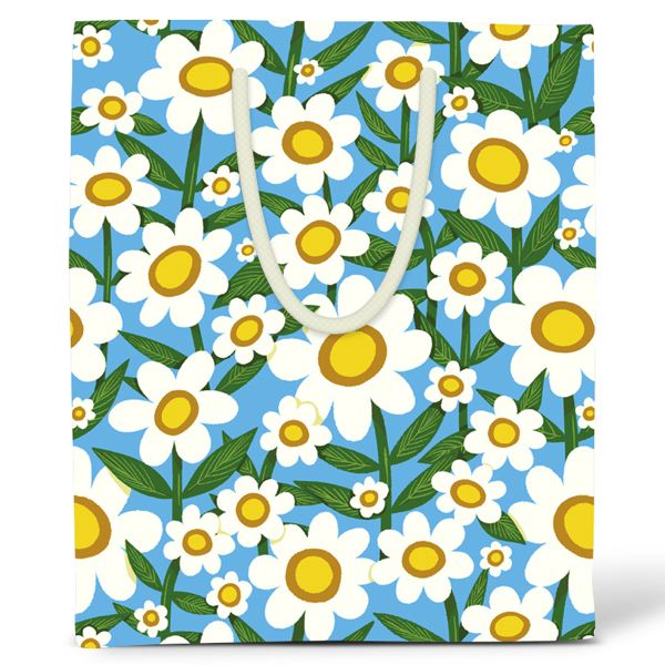 RED CAP-GIFT BAG LARGE-DAISIES
