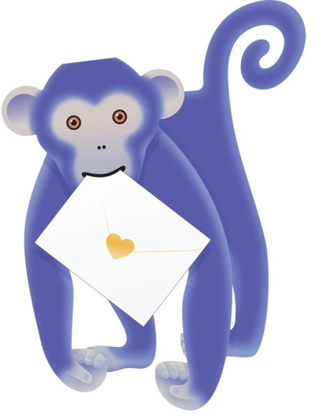 SPECIAL DELIVERY-CARD-MONKEY-BLUE