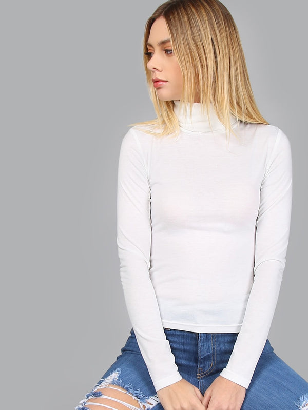 Turtleneck Long Sleeve Slim Fit T-shirt