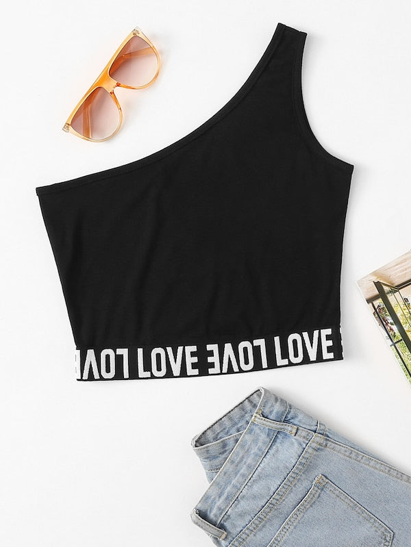 Off Shoulder Love Crop Top