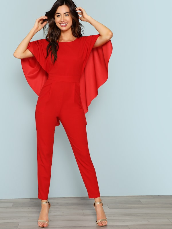 Open Back Cape Jumpsuit