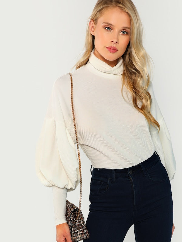 White Turtleneck Pullover