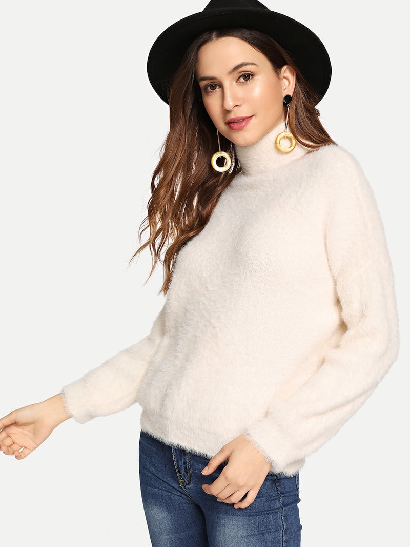 High Neck Ivory Sweater