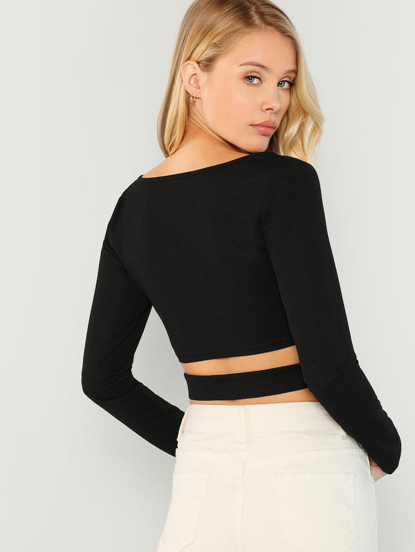 Long Sleeve Crop Top Blouse