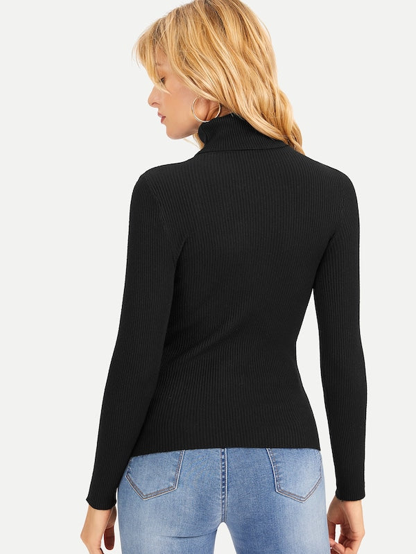Black Knit Turtleneck