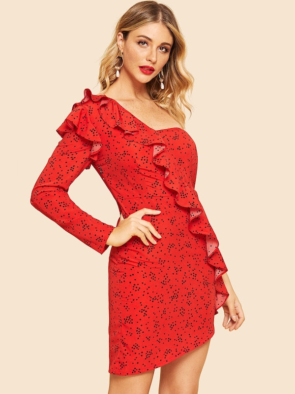 Red Off Shoulder Polkadot Dress