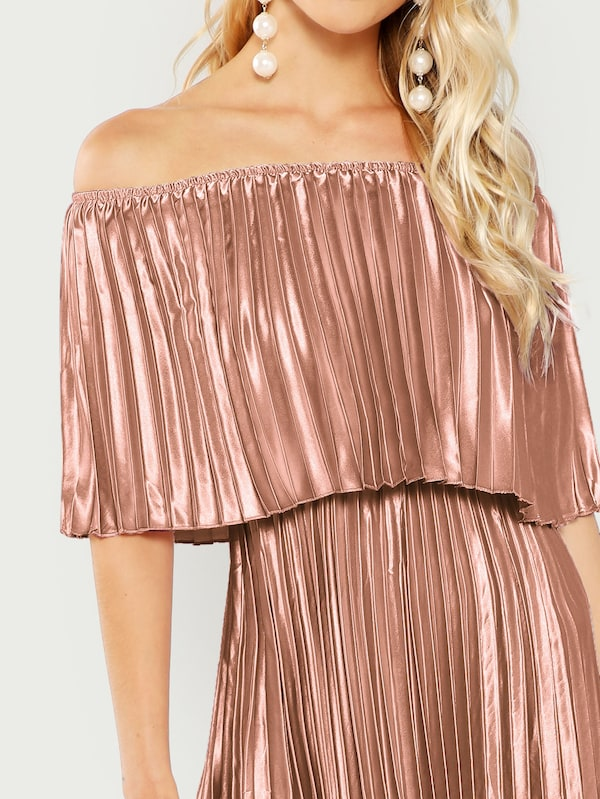 Off Shoulder Pink Pleated Dress