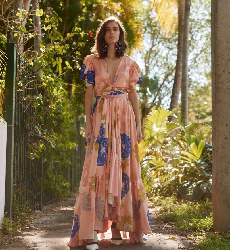 Ibiza Kimono Peach Dress By GLORY ANG
