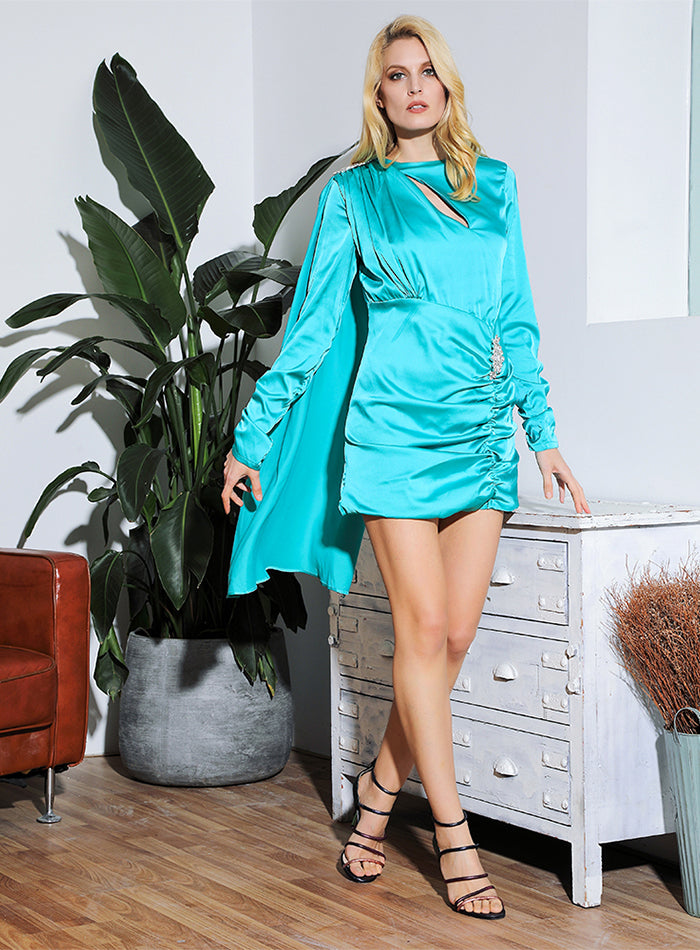 Drapped Green Silk Dress