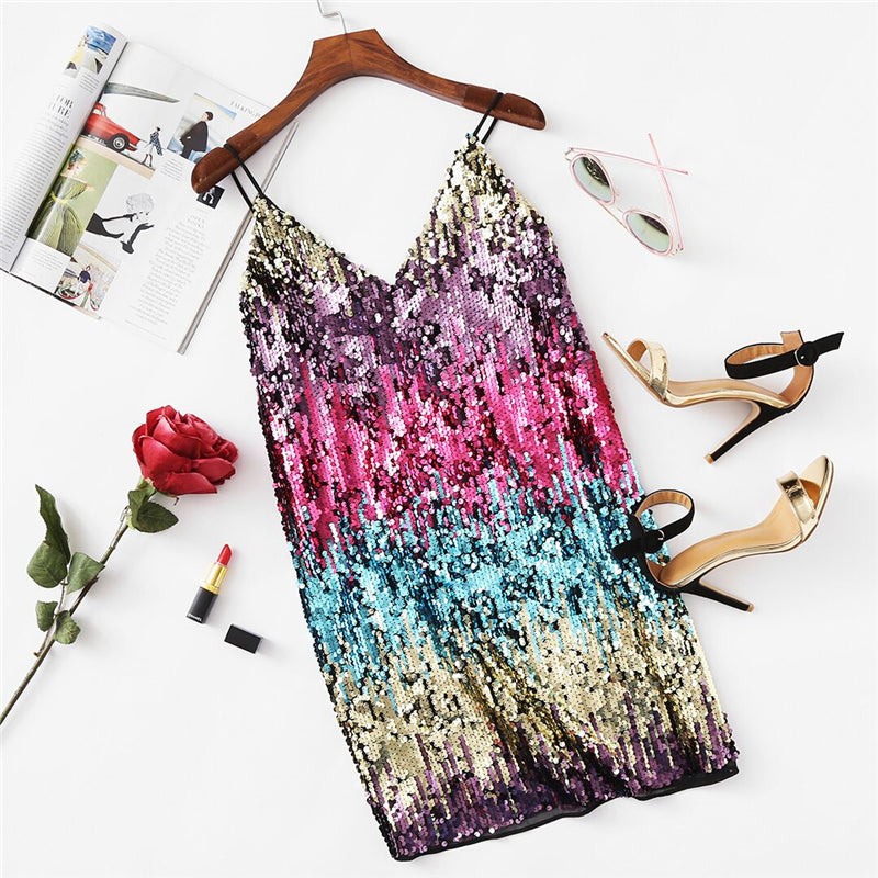 Kris Colorful Sequin Party Dress