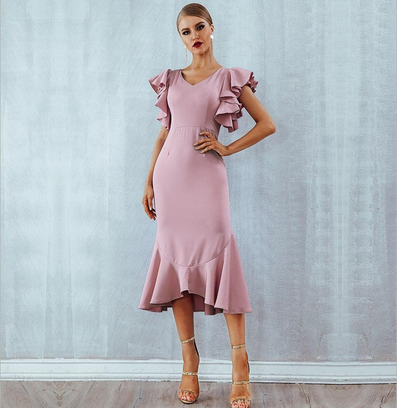 Ruffle Rose Midi Elegant Dress