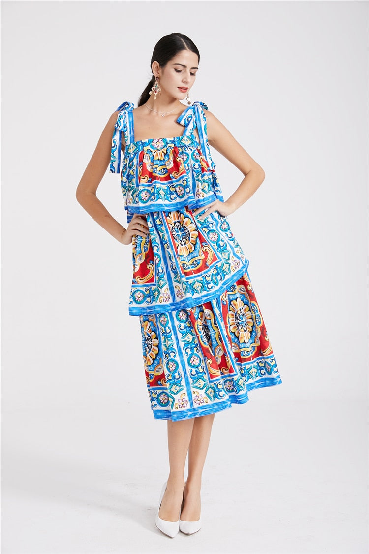 Ruffle Midi Retro Dress