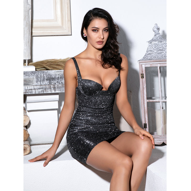 Glitter Elastic Bodycon Dress