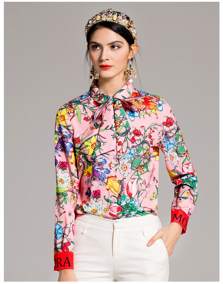 Long Sleeve Color Print Blouse