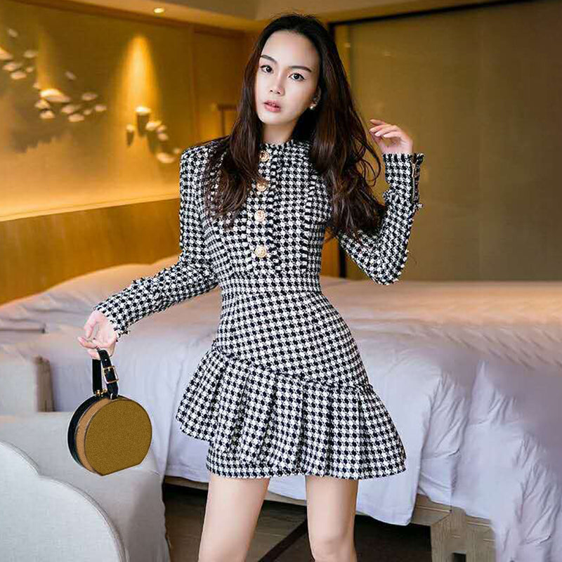 High Waist Long Sleeve Patchwork Ruffle Dresses