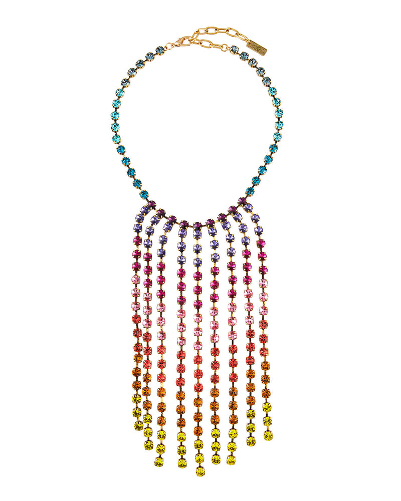 Rainbow Swarovski Fringe Necklace