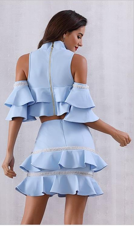 Two Piece Baby Blue Ruffles Set