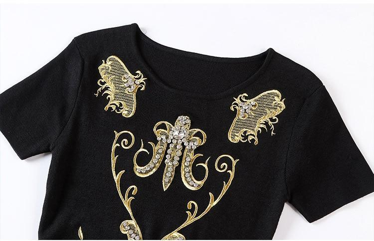 Embroidery Beading Diamond Knitted Sweater Dress