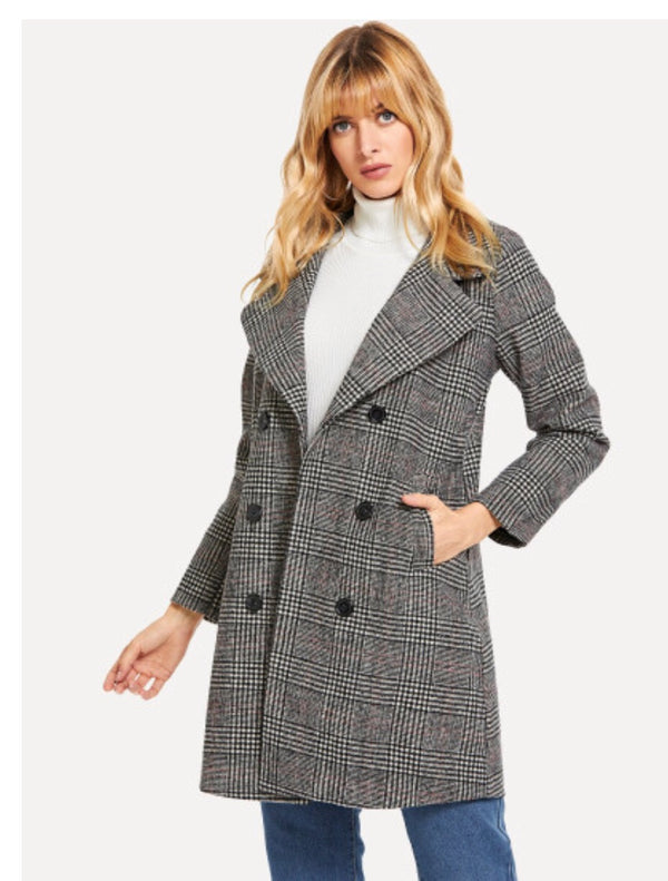 Plaid Woolen Coat