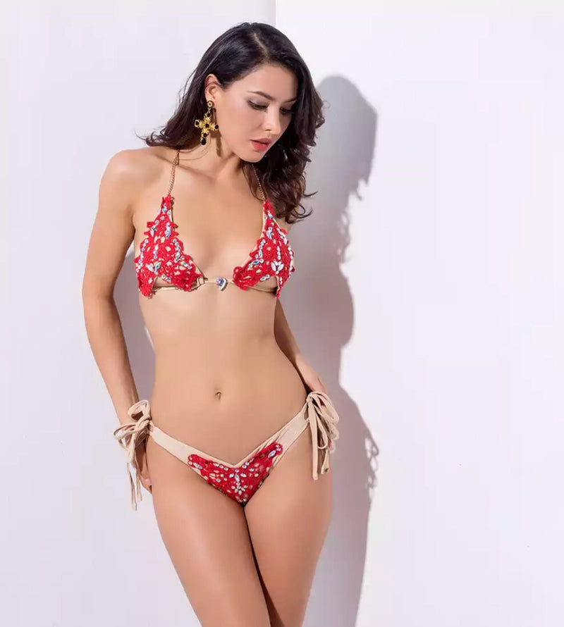 Red Brocade Bikini