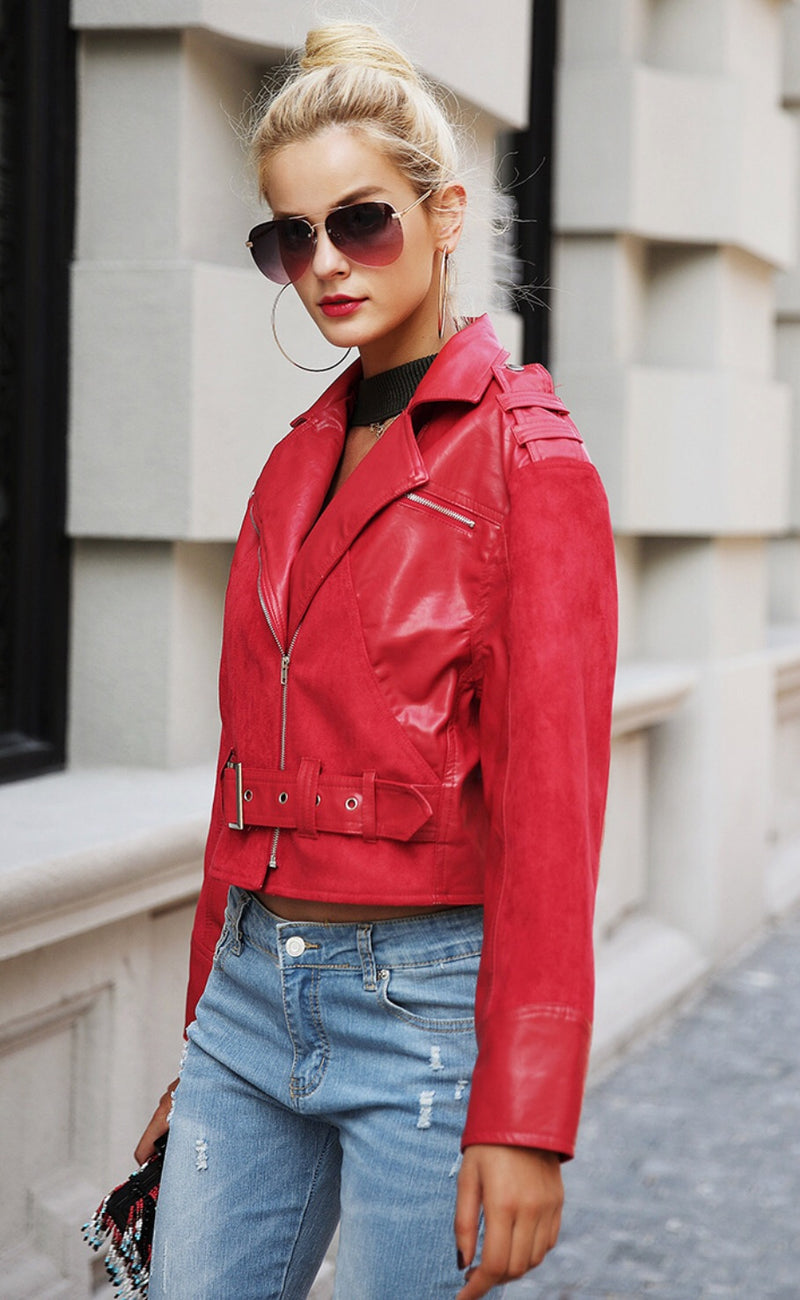 Red PU Jacket