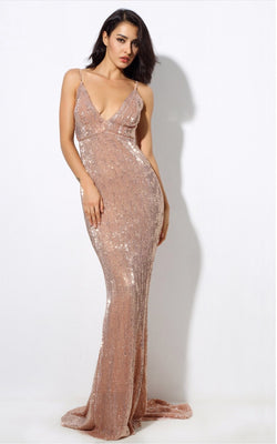 Sequin Champagne Maxi Dress