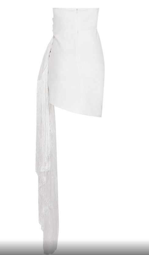 White Tassel Elegant Dress
