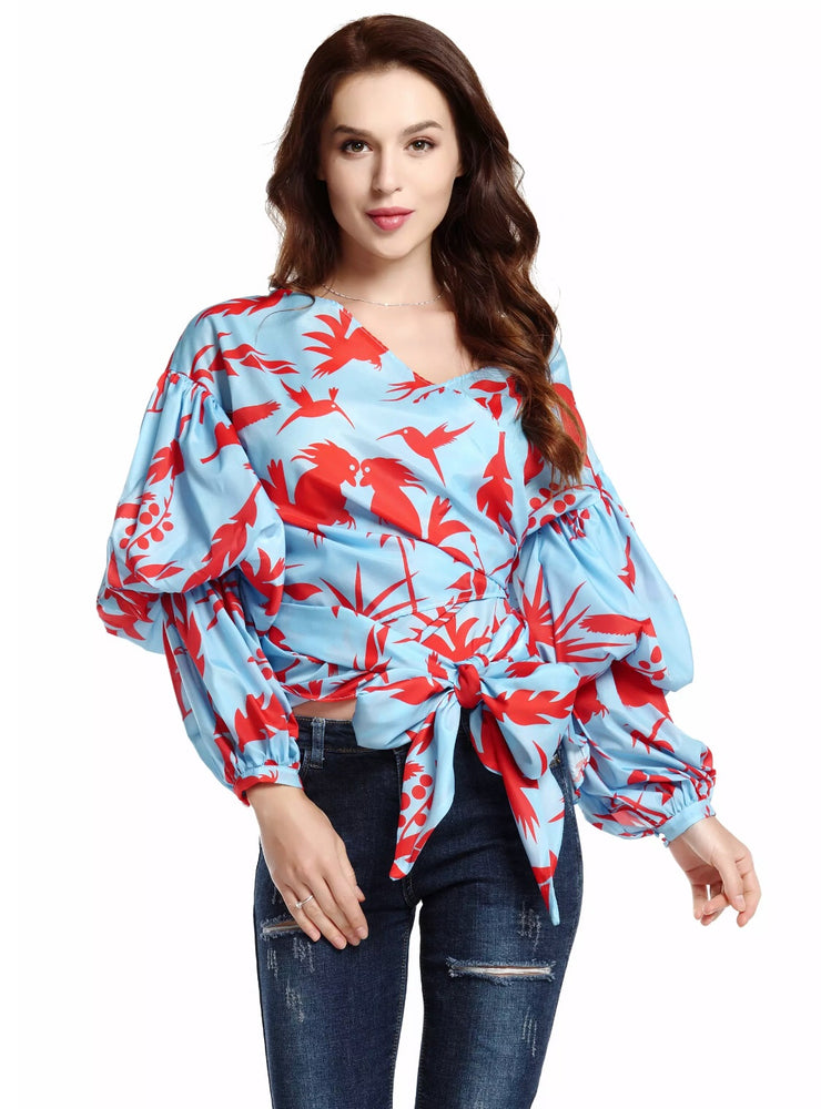 Puff Sleeves Wrap Blouse