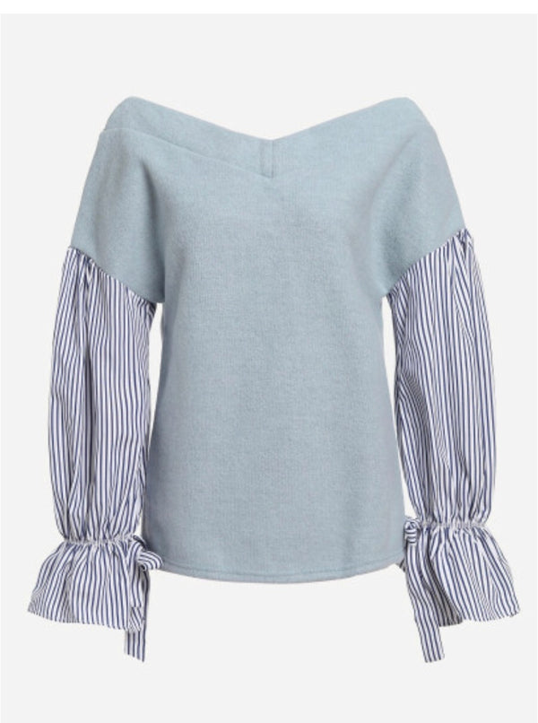 Striped Sleeves Sweater